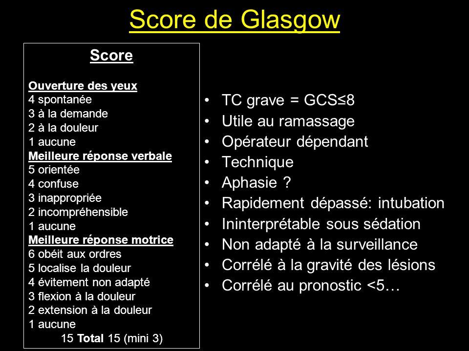 Score de Glasgow Score TC grave = GCS≤8 Utile au ramassage