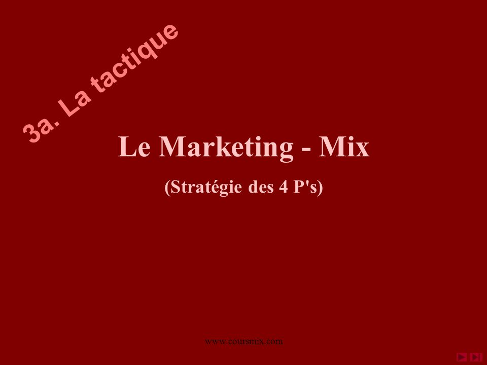 Le Marketing - Mix 3a. La tactique (Stratégie des 4 P s)