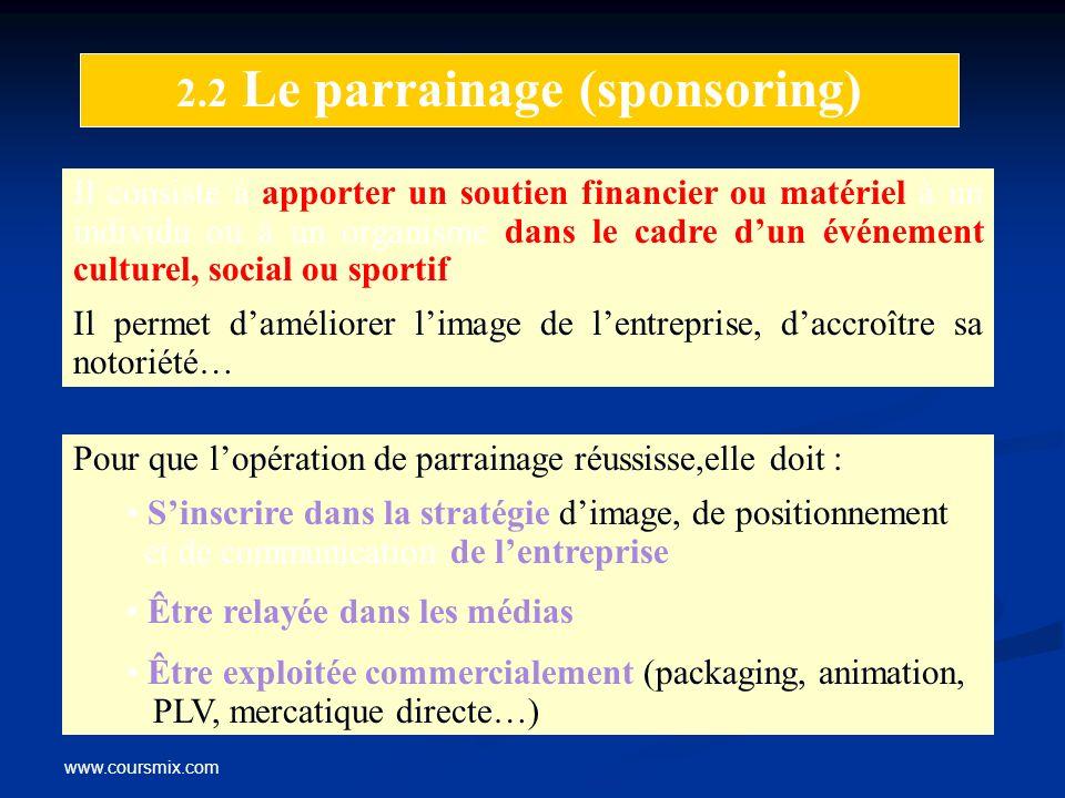 2.2 Le parrainage (sponsoring)