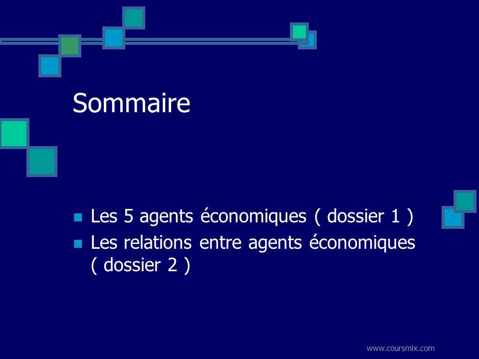 Sommaire Les 5 agents économiques ( dossier 1 )