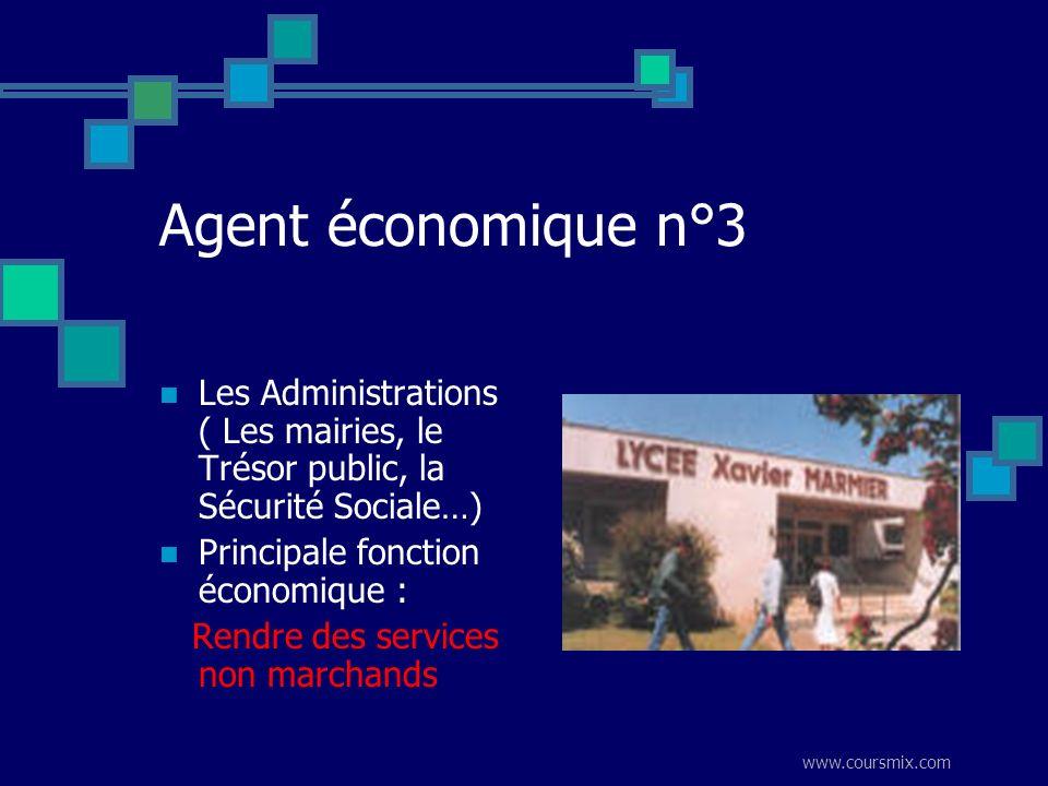 Agent économique n°3 Les Administrations ( Les mairies, le Trésor public, la Sécurité Sociale…) Principale fonction économique :