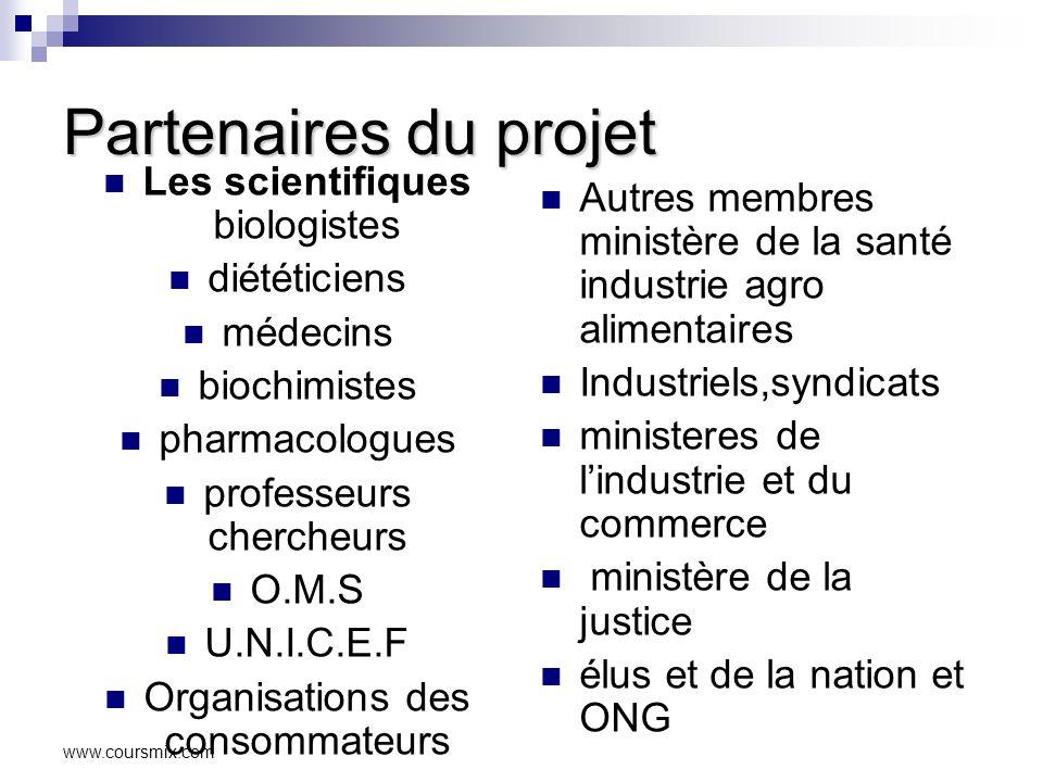 Partenaires du projet Les scientifiques biologistes