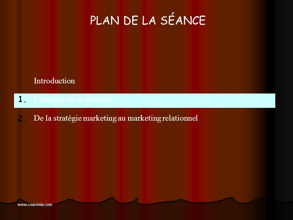 PLAN DE LA SÉANCE Introduction L'analyse de la clientèle