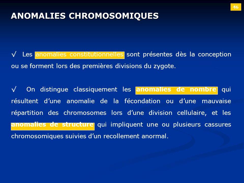 ANOMALIES CHROMOSOMIQUES