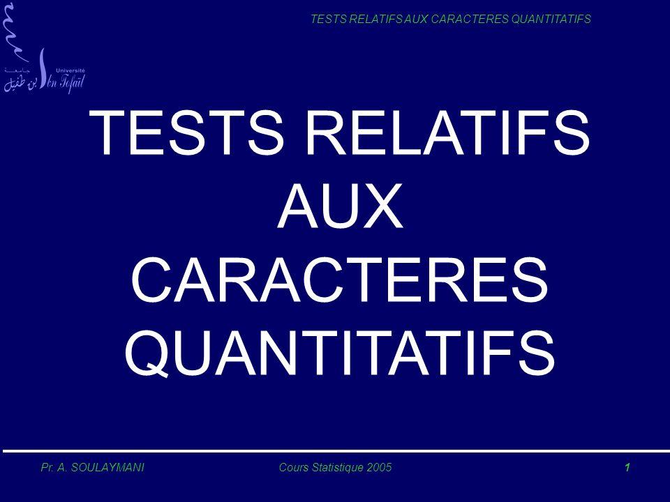 TESTS RELATIFS AUX CARACTERES QUANTITATIFS