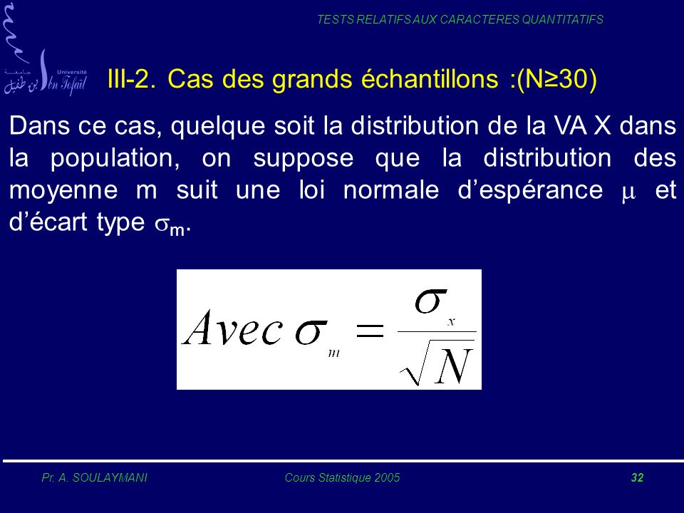 III-2. Cas des grands échantillons :(N≥30)