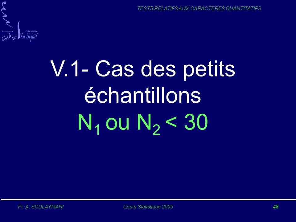 V.1- Cas des petits échantillons N1 ou N2 < 30