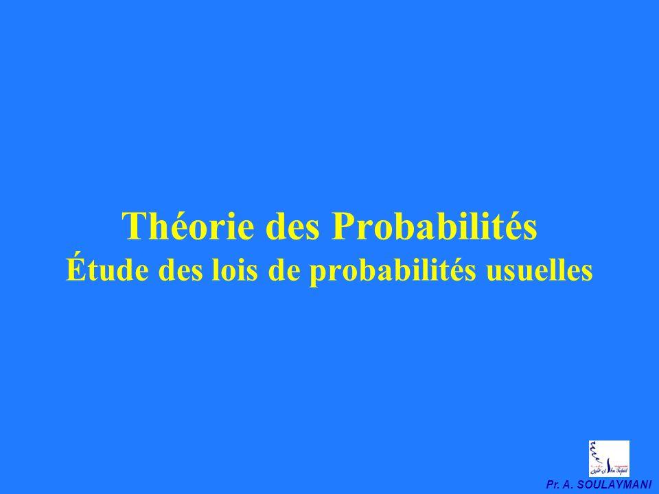 Théorie des Probabilités Étude des lois de probabilités usuelles