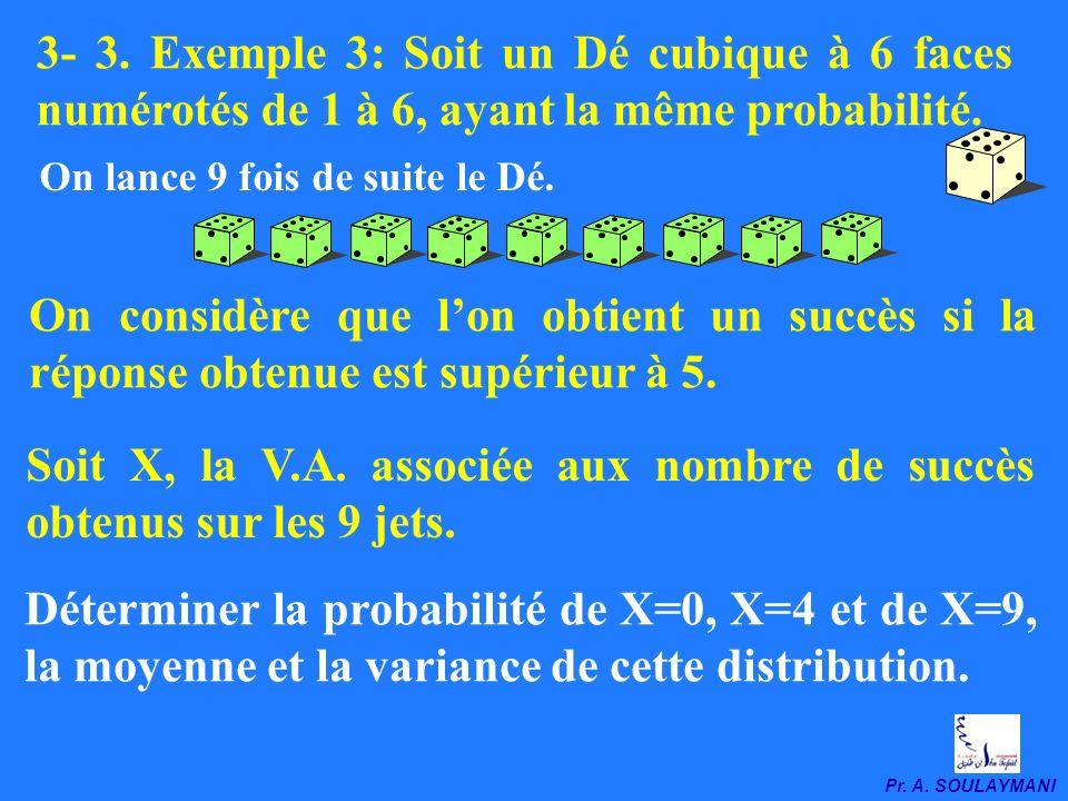 Soit X, la V.A. associée aux nombre de succès obtenus sur les 9 jets.