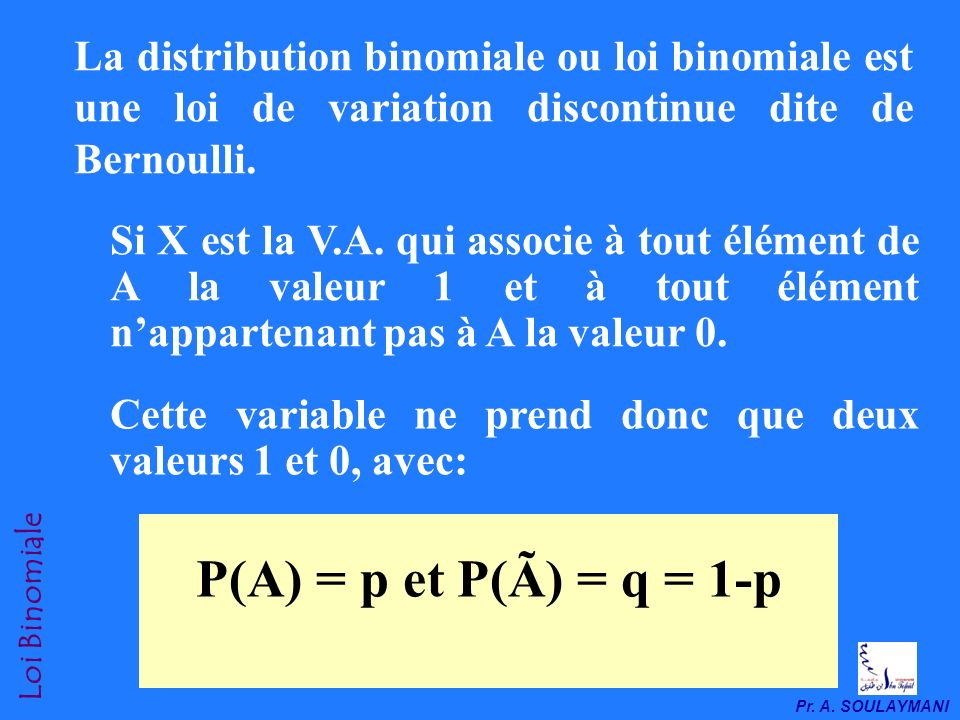 La distribution binomiale ou loi binomiale est une loi de variation discontinue dite de Bernoulli.