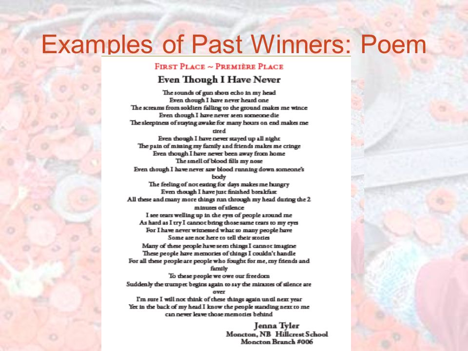 Examples of Past Winners: Poem