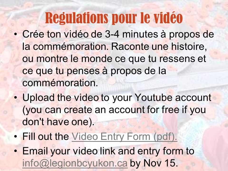 Regulations pour le vidéo
