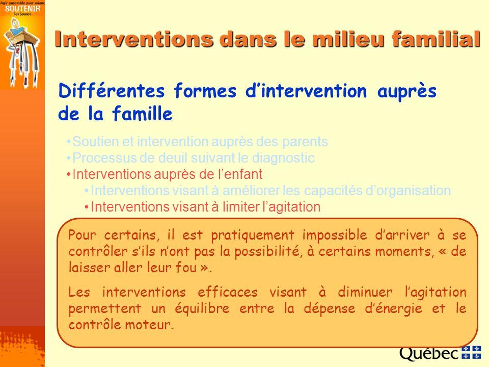 Interventions dans le milieu familial