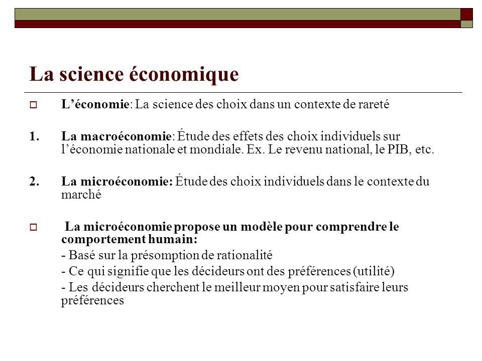La science économique L'économie: La science des choix dans un contexte de rareté.