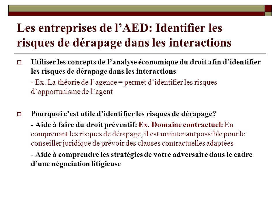 Les entreprises de l'AED: Identifier les risques de dérapage dans les interactions