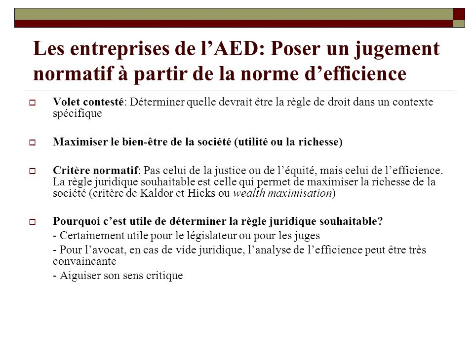 Les entreprises de l'AED: Poser un jugement normatif à partir de la norme d'efficience