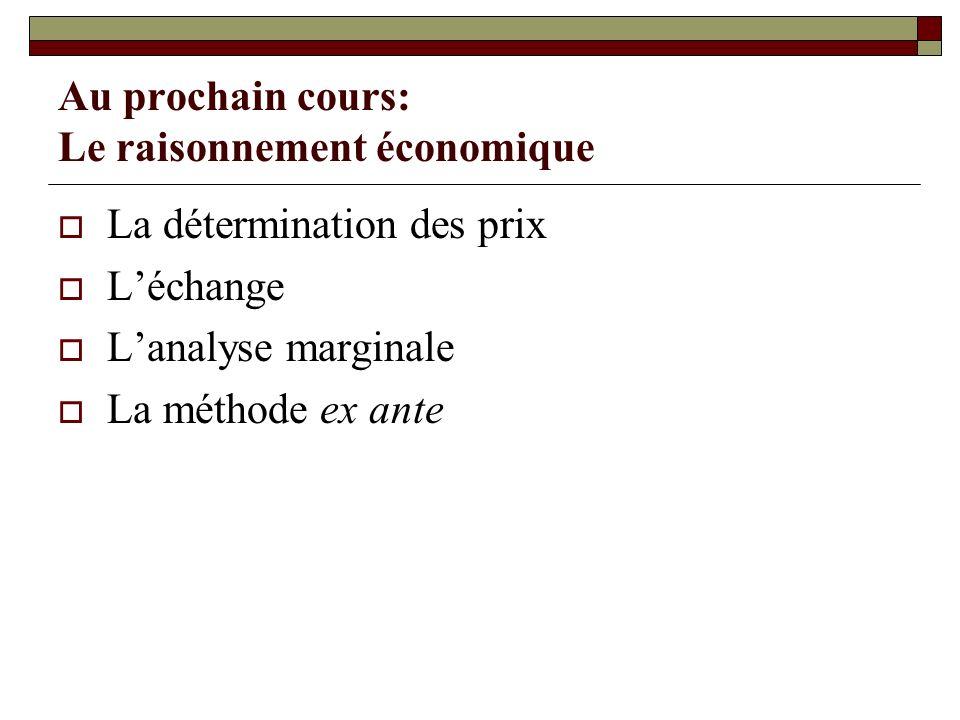 Au prochain cours: Le raisonnement économique