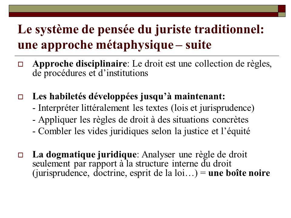 Le système de pensée du juriste traditionnel: une approche métaphysique – suite