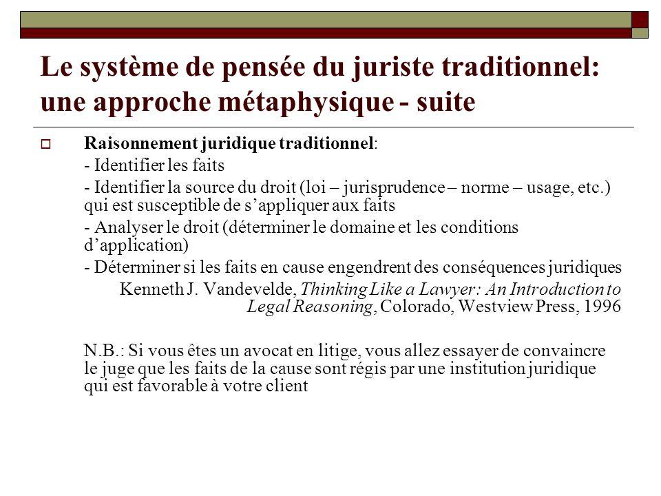 Le système de pensée du juriste traditionnel: une approche métaphysique - suite