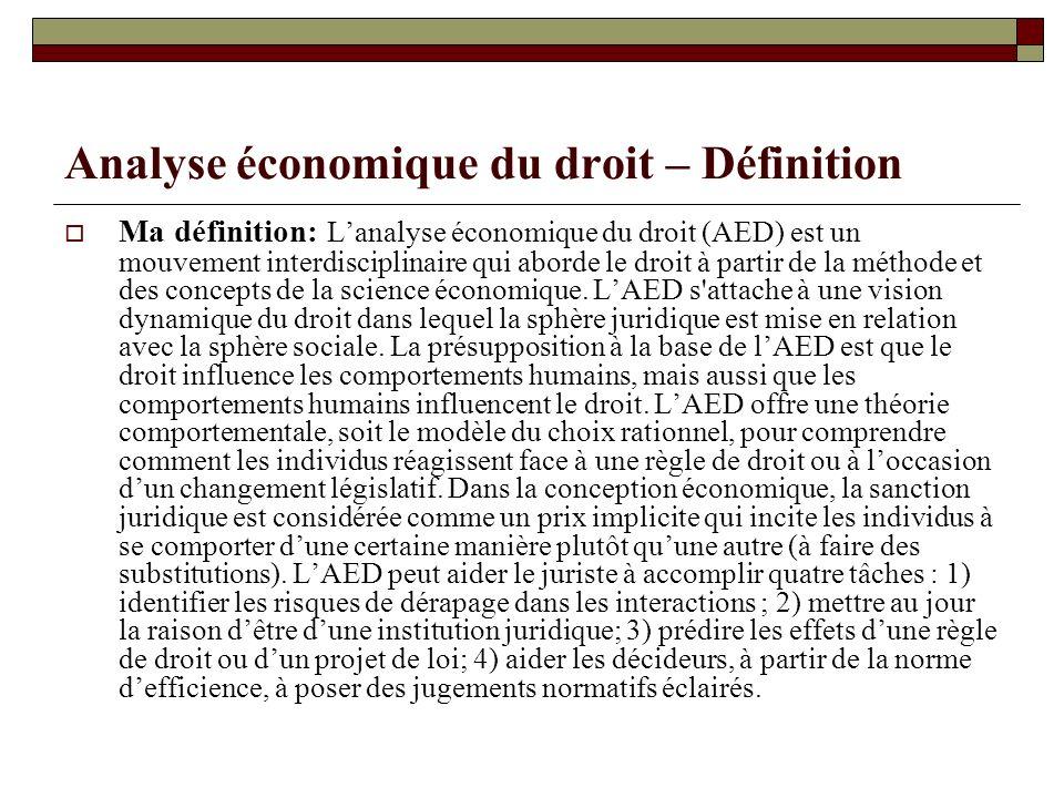 Analyse économique du droit – Définition