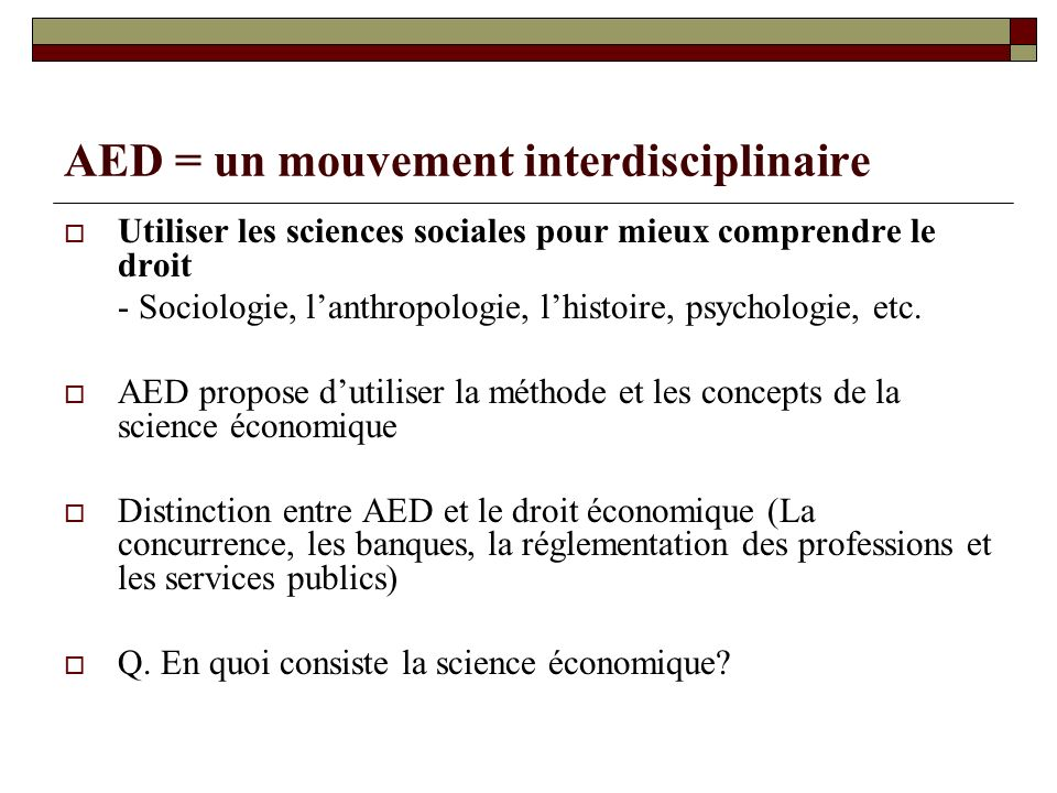 AED = un mouvement interdisciplinaire