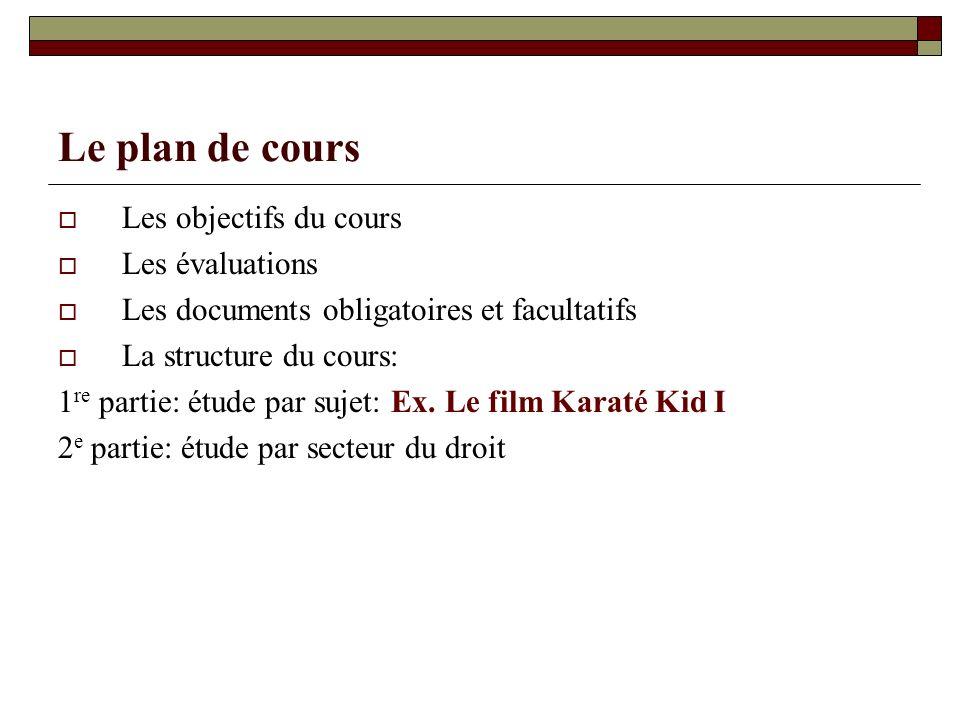 Le plan de cours Les objectifs du cours Les évaluations