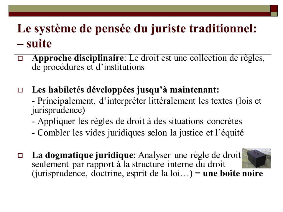 Le système de pensée du juriste traditionnel: – suite