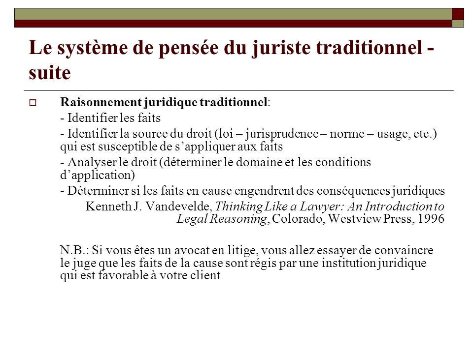 Le système de pensée du juriste traditionnel - suite