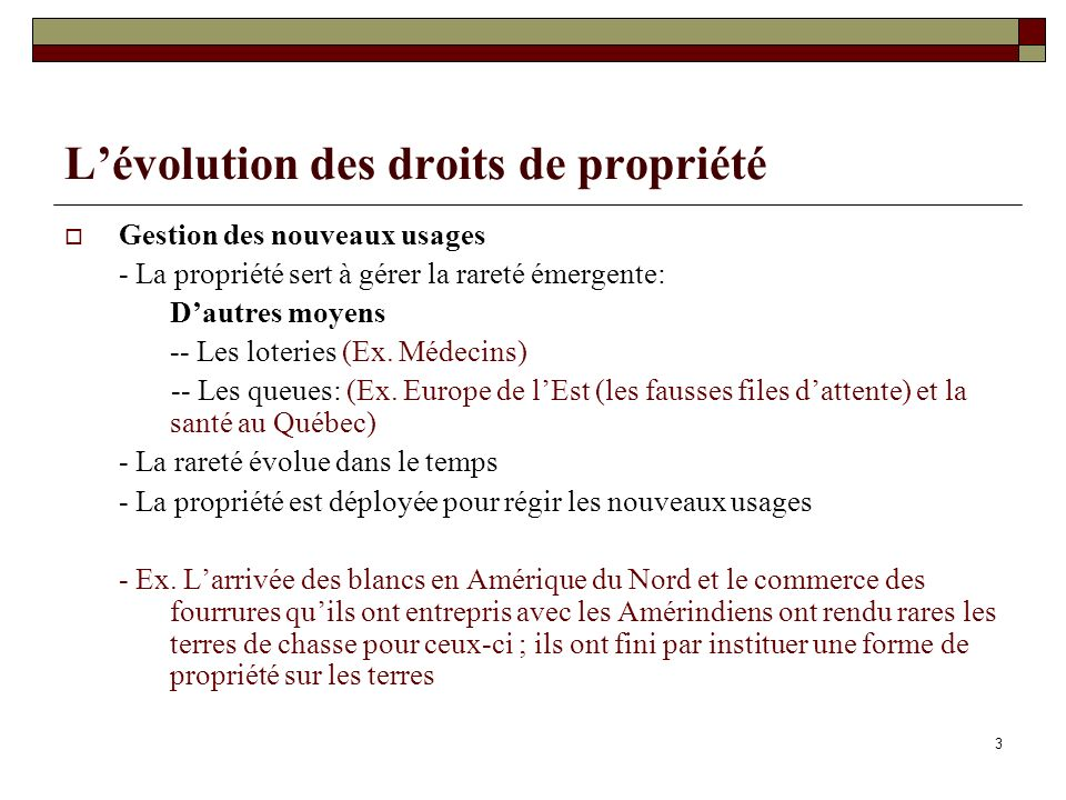 L'évolution des droits de propriété