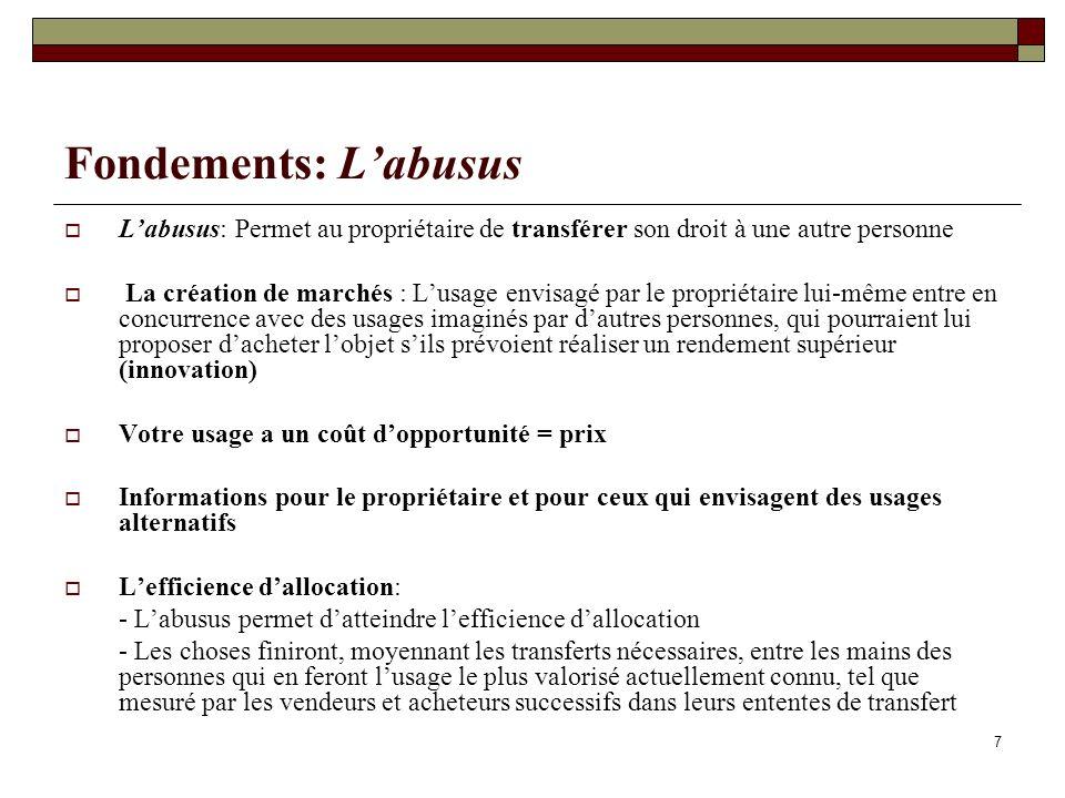 Fondements: L'abusus L'abusus: Permet au propriétaire de transférer son droit à une autre personne.