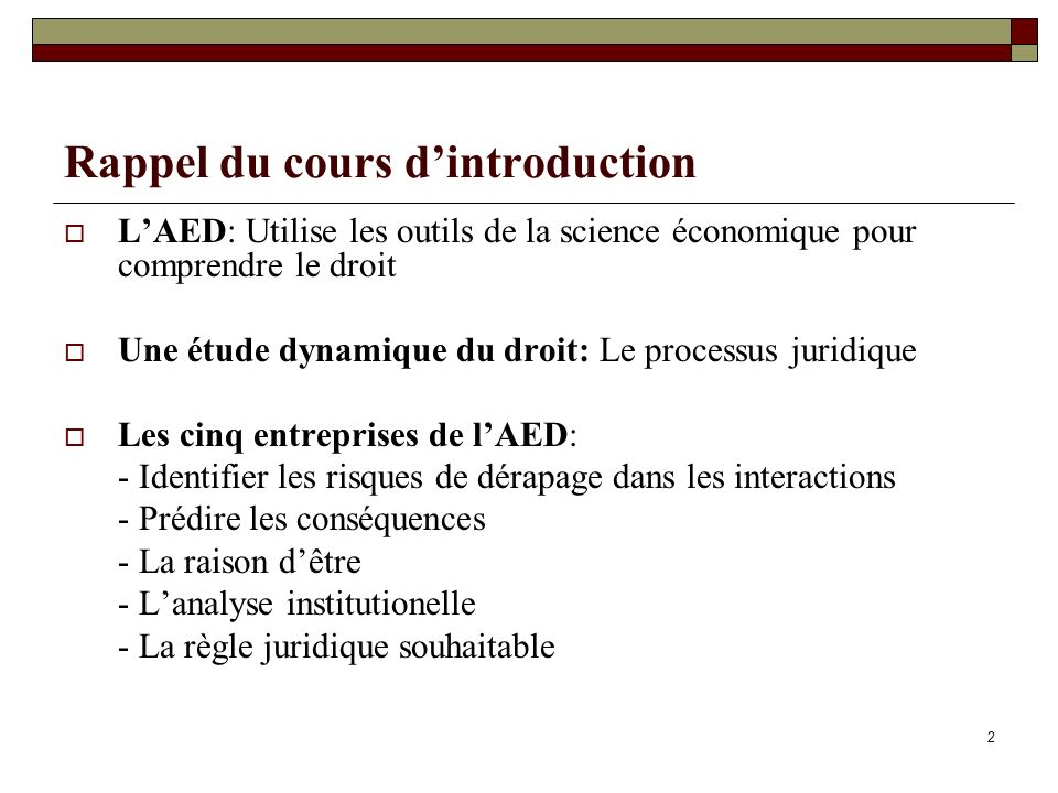 Rappel du cours d'introduction