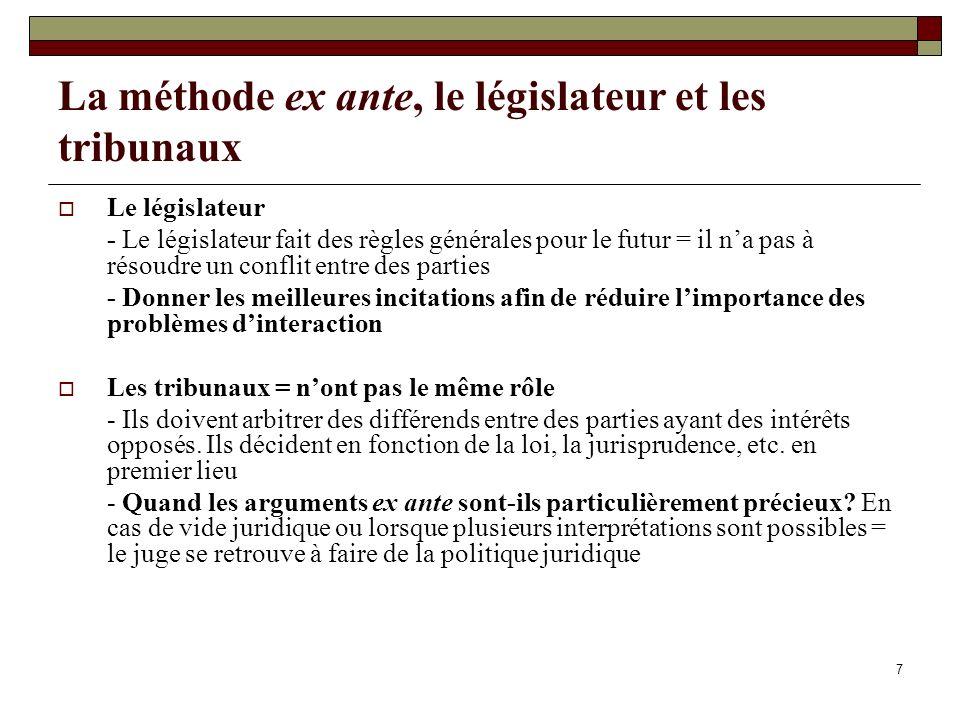 La méthode ex ante, le législateur et les tribunaux