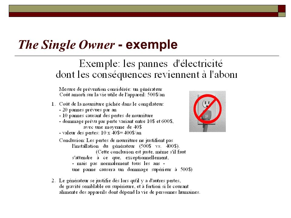 The Single Owner - exemple