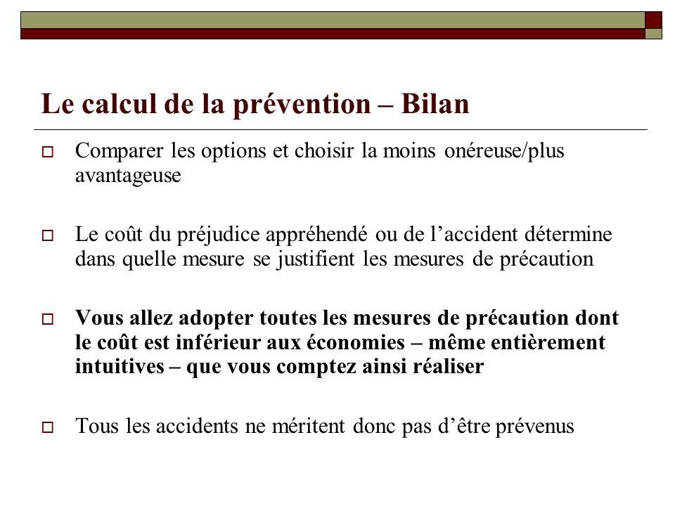 Le calcul de la prévention – Bilan