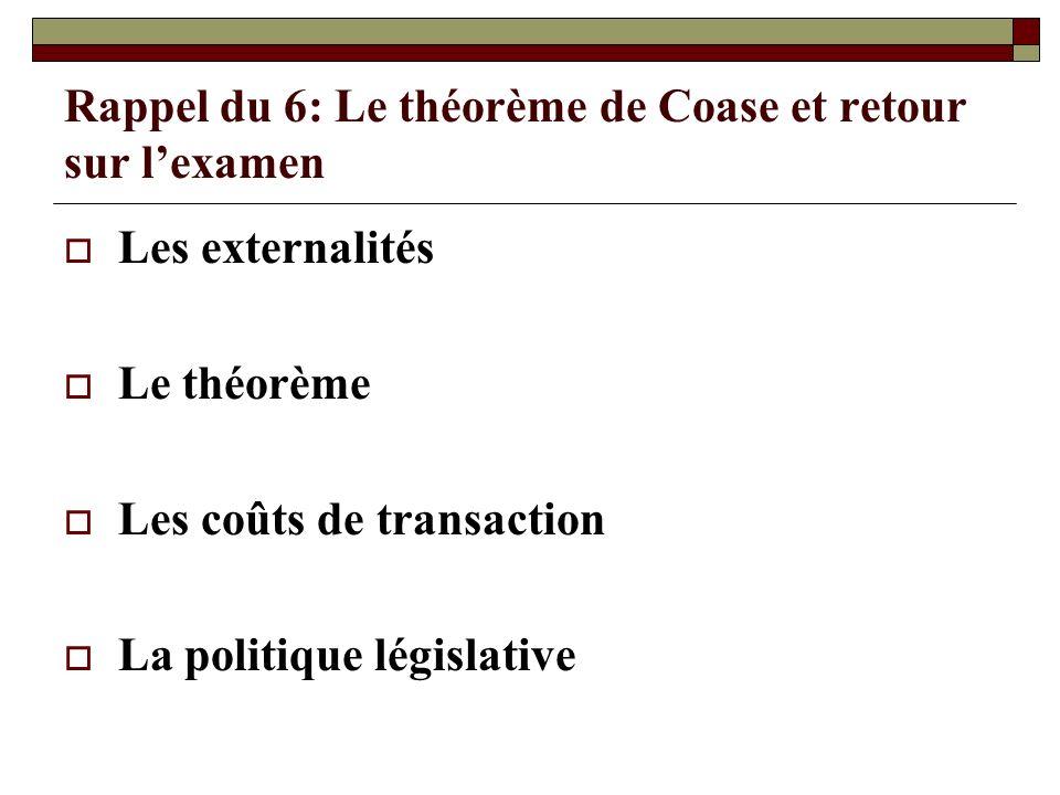 Rappel du 6: Le théorème de Coase et retour sur l'examen