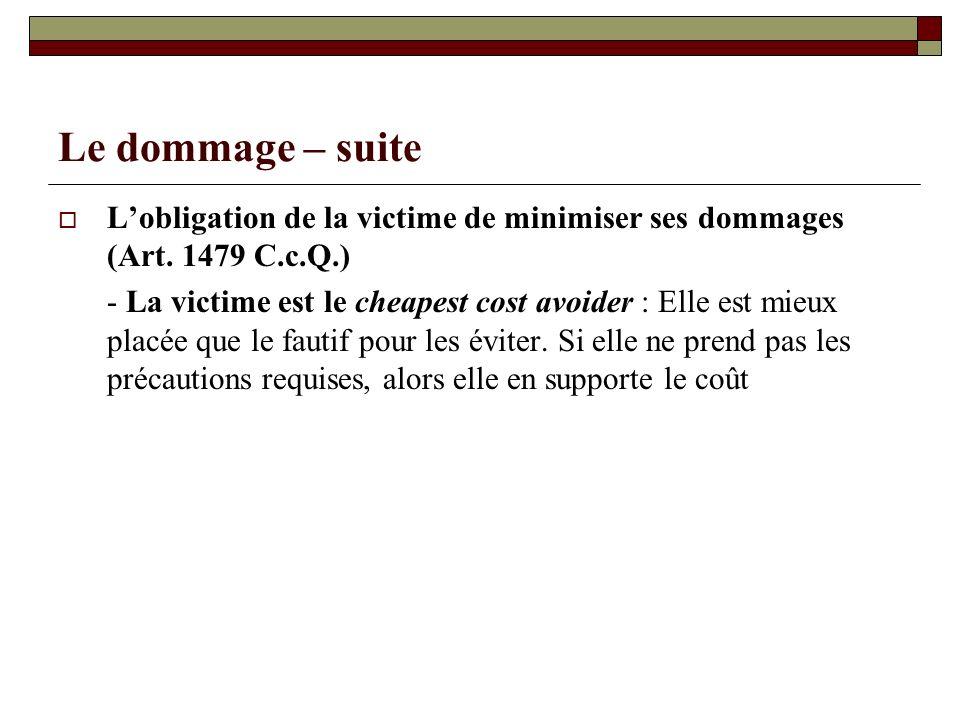 Le dommage – suite L'obligation de la victime de minimiser ses dommages (Art. 1479 C.c.Q.)