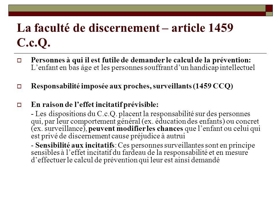 La faculté de discernement – article 1459 C.c.Q.