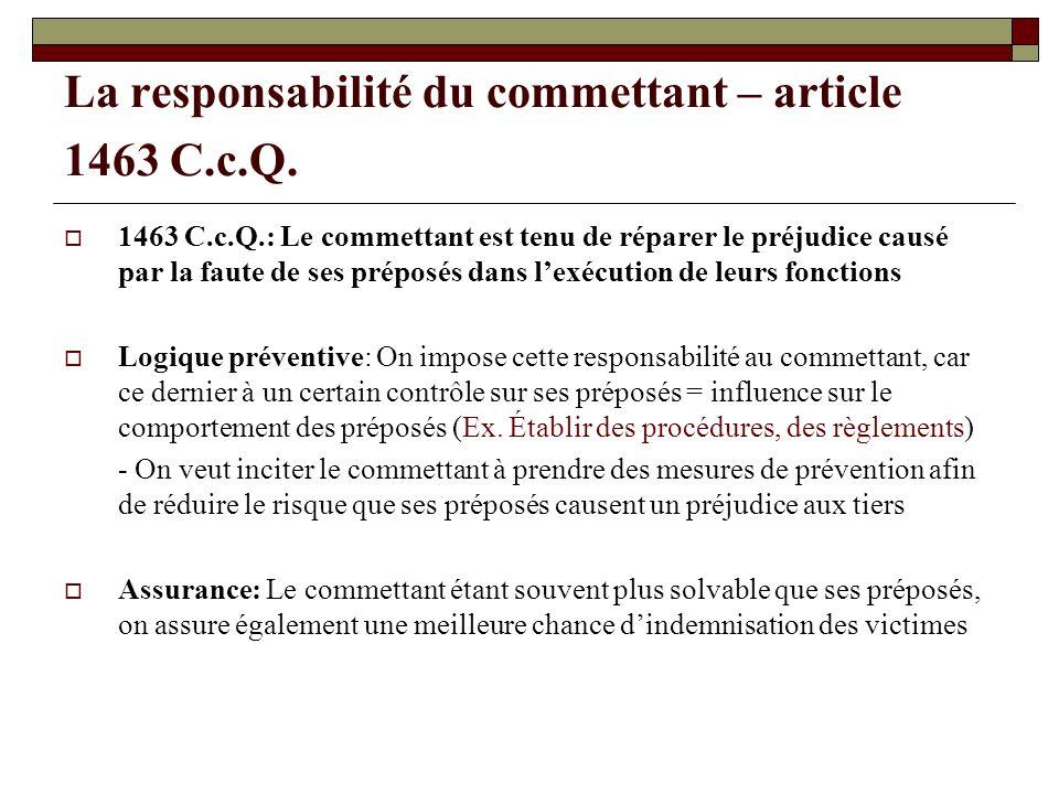 La responsabilité du commettant – article 1463 C.c.Q.