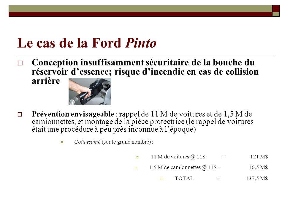 Le cas de la Ford Pinto Conception insuffisamment sécuritaire de la bouche du réservoir d'essence; risque d'incendie en cas de collision arrière.