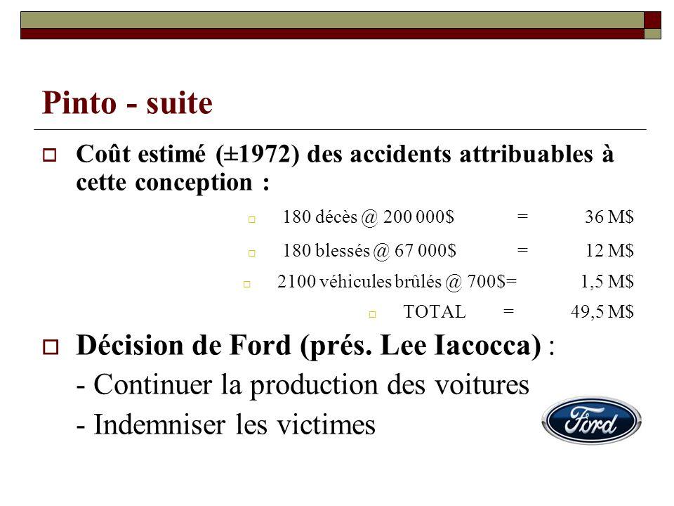 Pinto - suite Décision de Ford (prés. Lee Iacocca) :