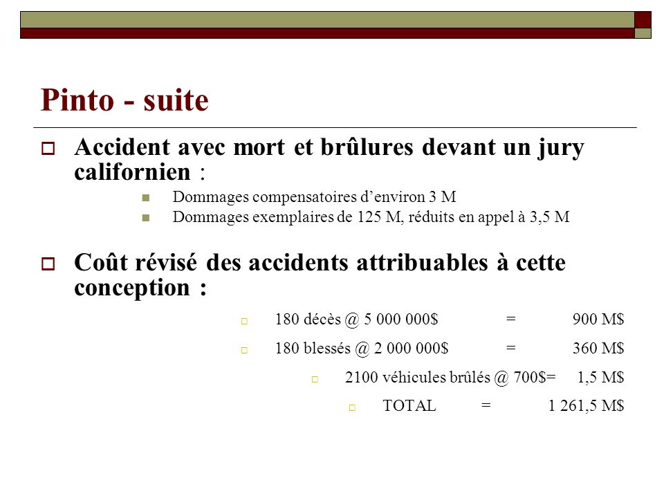 Pinto - suite Accident avec mort et brûlures devant un jury californien : Dommages compensatoires d'environ 3 M.