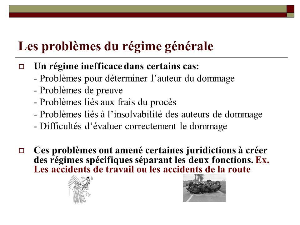 Les problèmes du régime générale