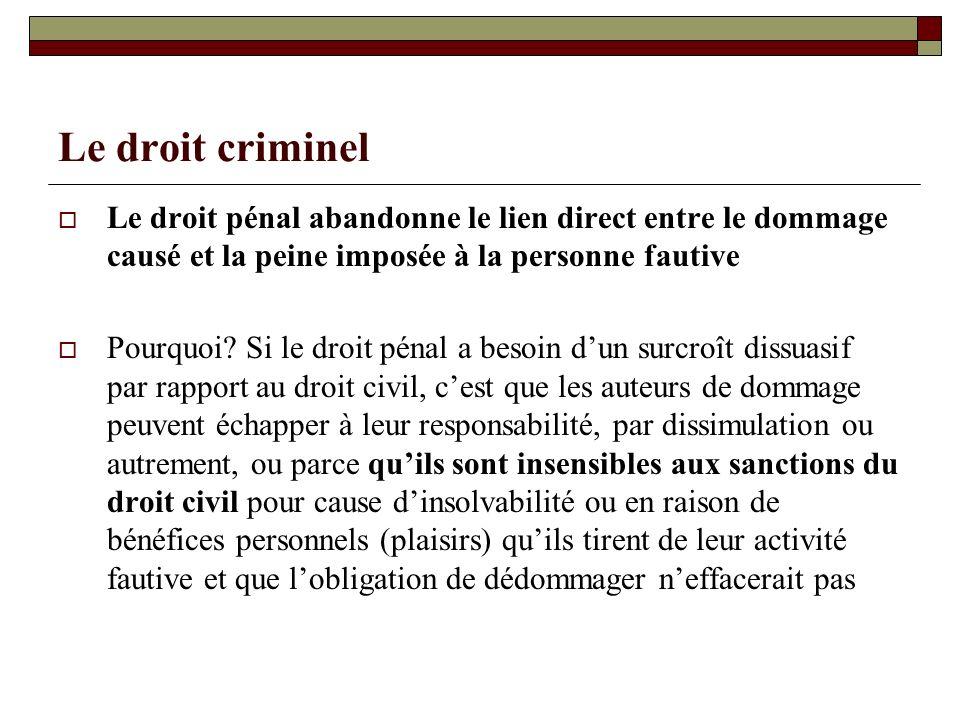 Le droit criminel Le droit pénal abandonne le lien direct entre le dommage causé et la peine imposée à la personne fautive.