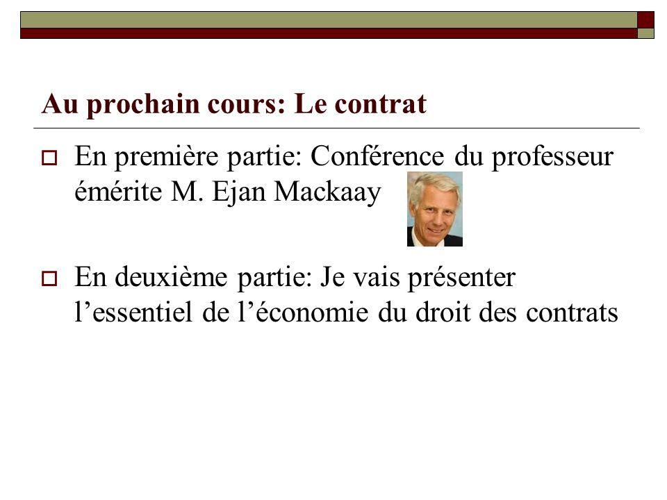 Au prochain cours: Le contrat