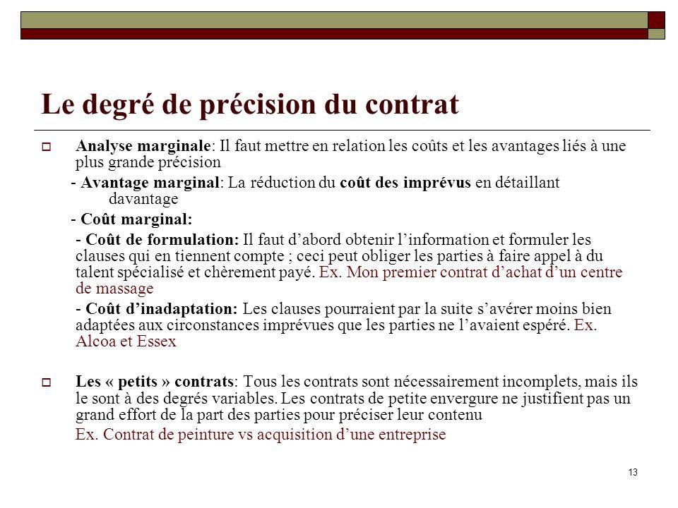 Le degré de précision du contrat