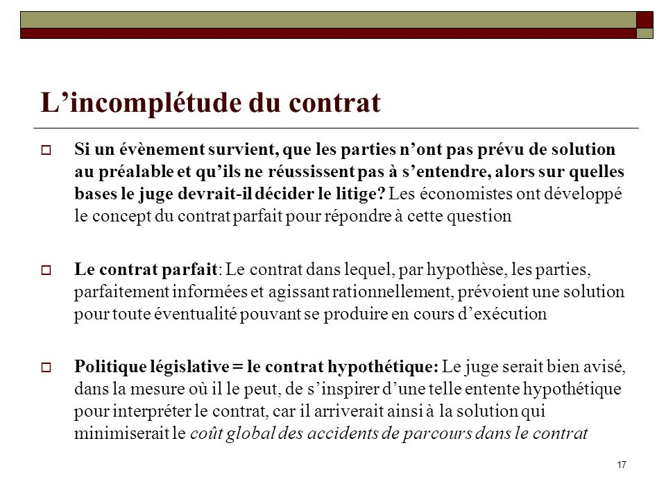 L'incomplétude du contrat