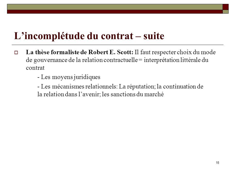 L'incomplétude du contrat – suite