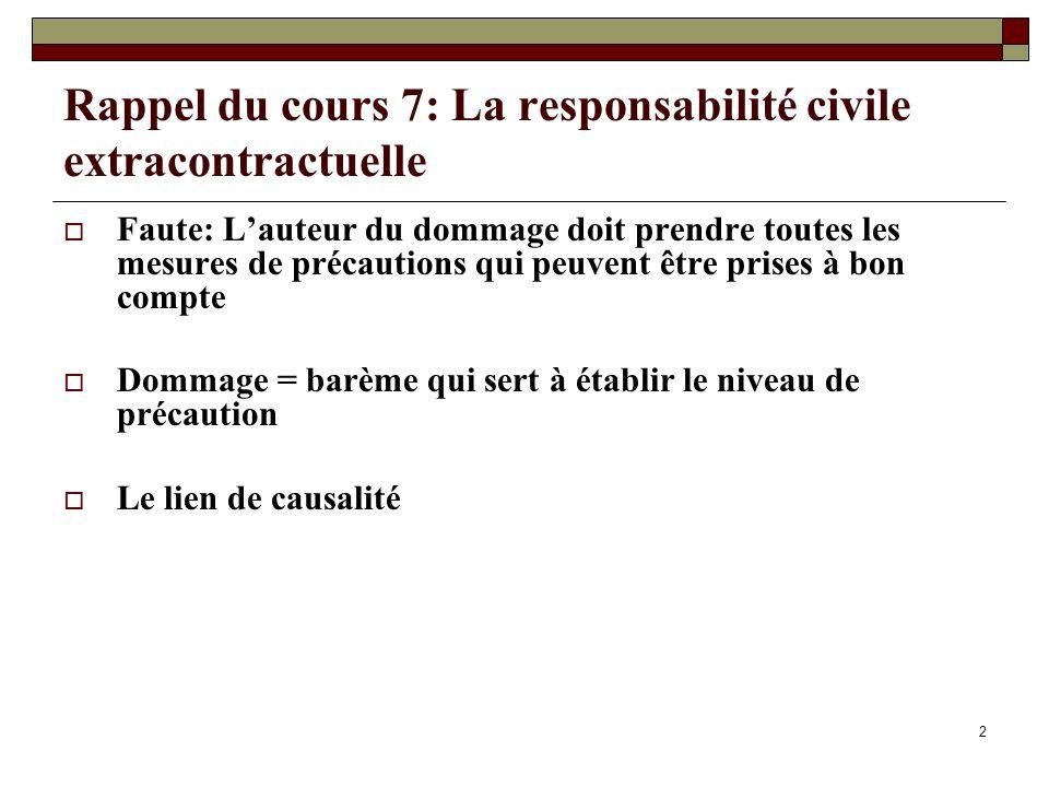 Rappel du cours 7: La responsabilité civile extracontractuelle