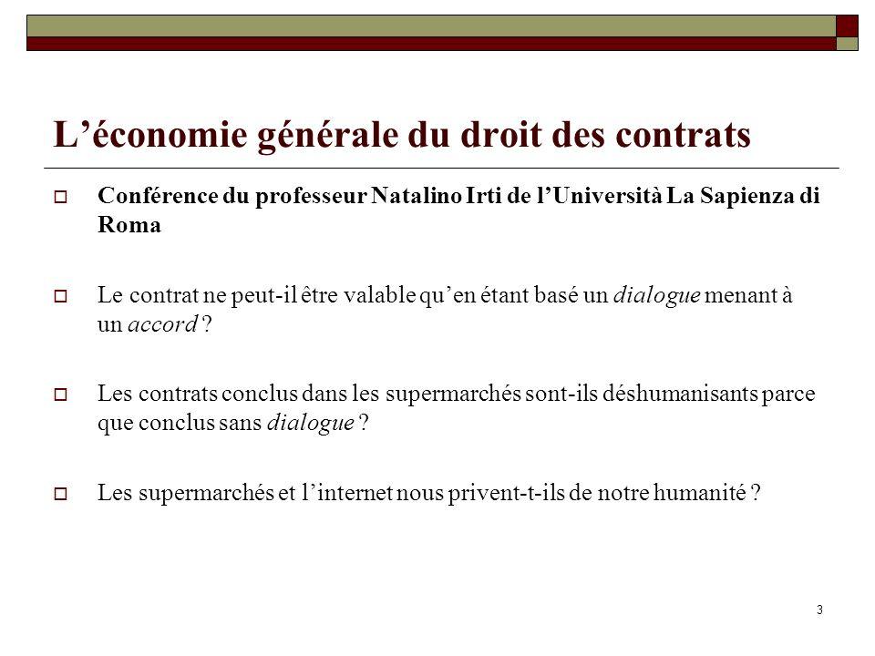L'économie générale du droit des contrats