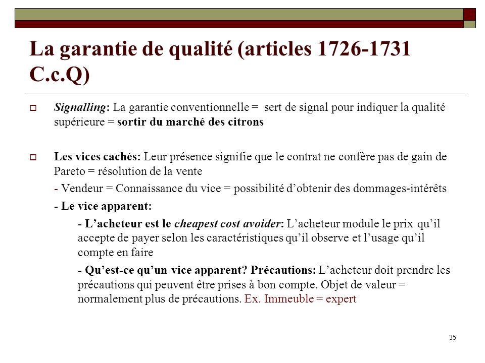 La garantie de qualité (articles 1726-1731 C.c.Q)